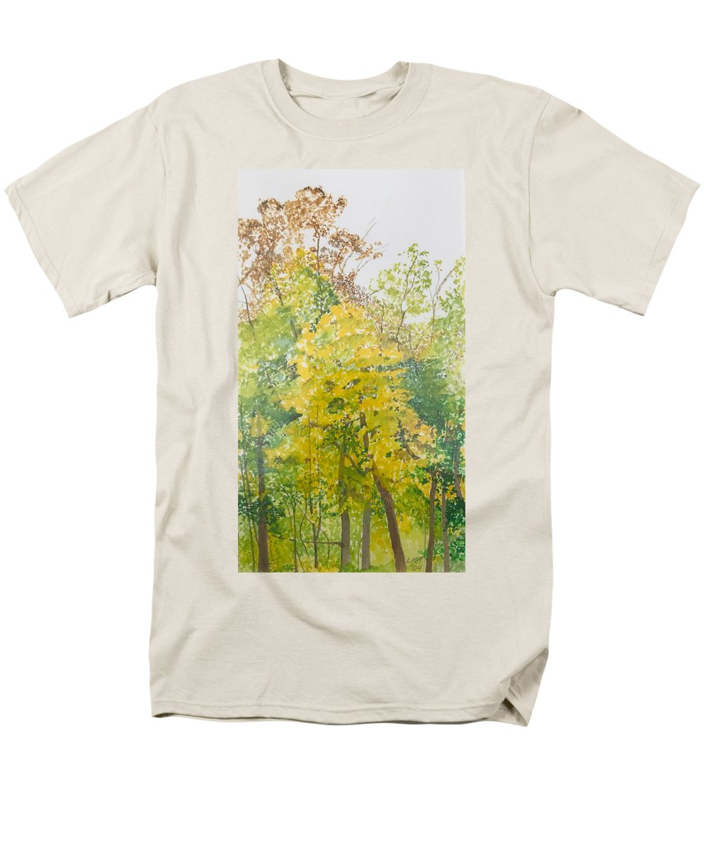 Autumn Men's T-Shirt (Regular Fit) featuring the painting Backyard by Leah Tomaino