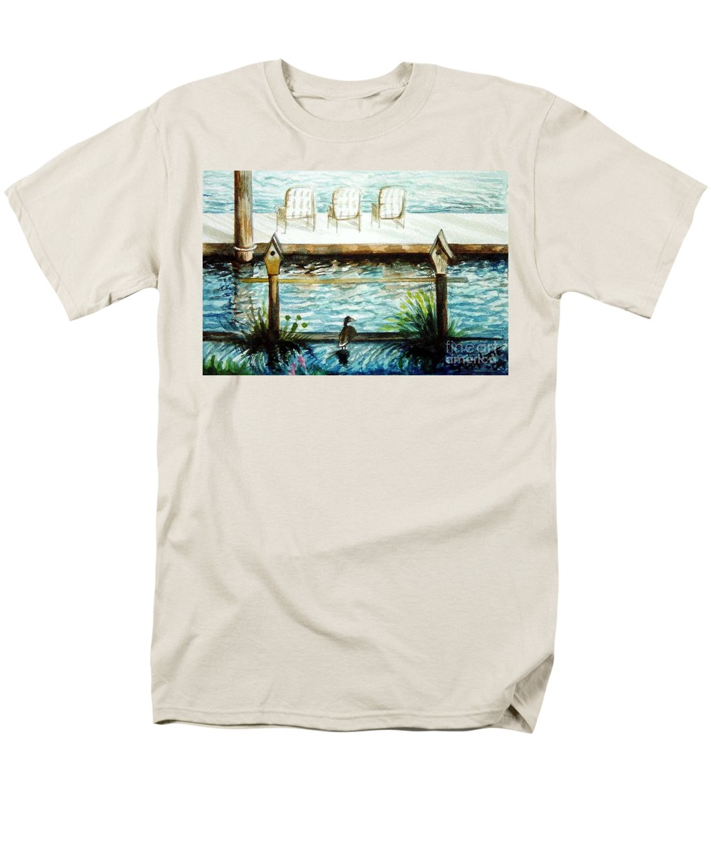 Birdhouse Men's T-Shirt (Regular Fit) featuring the painting Birdhouse Haven by Elizabeth Robinette Tyndall