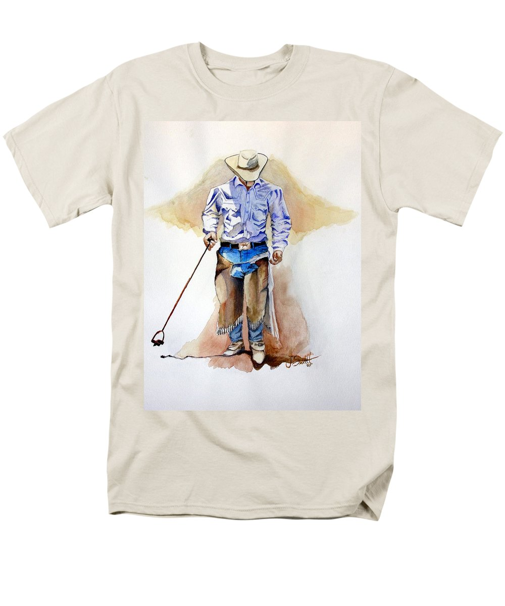 Western Men's T-Shirt (Regular Fit) featuring the painting Branding Blisters by Jimmy Smith