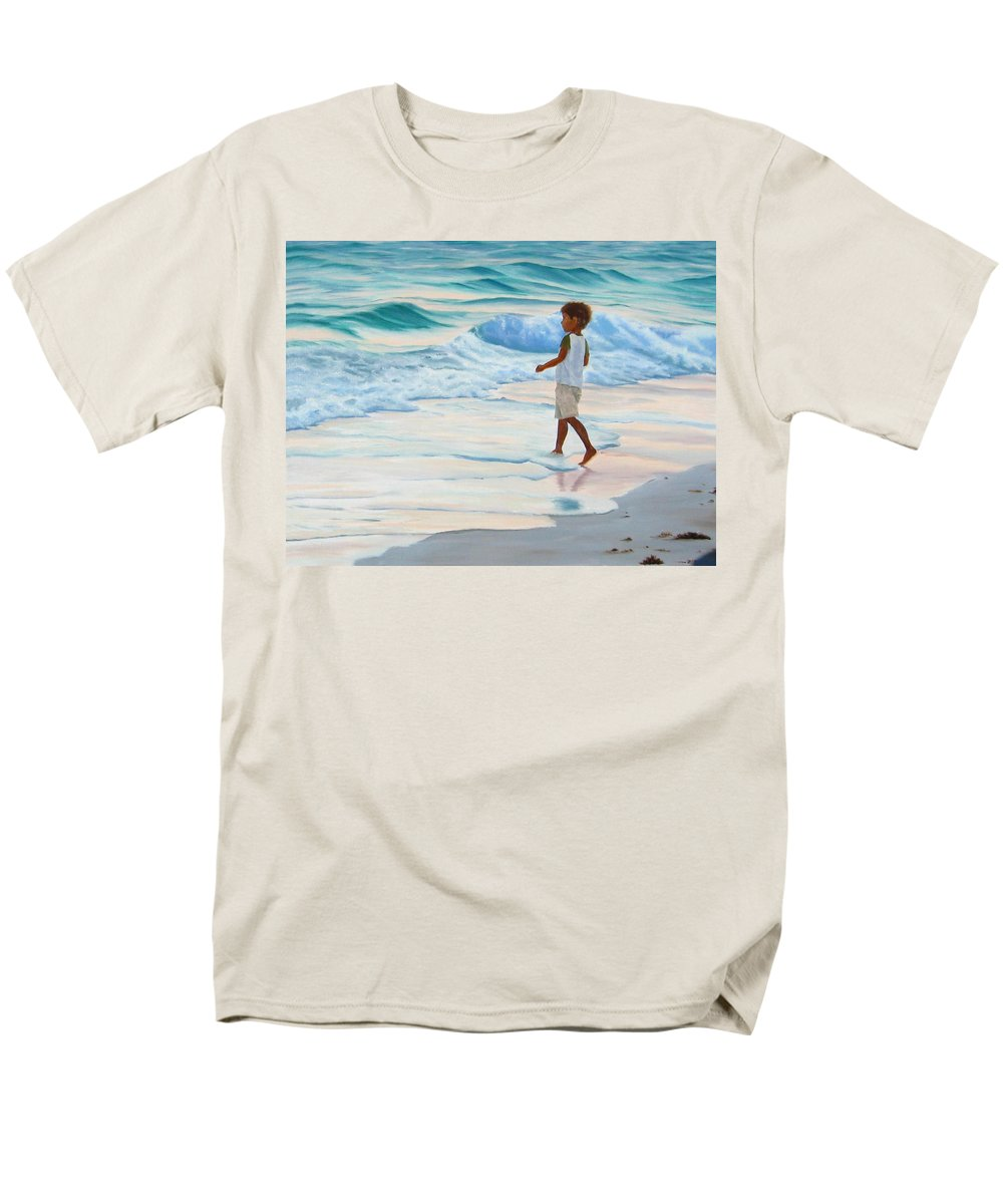 Child Men's T-Shirt (Regular Fit) featuring the painting Chasing The Waves by Lea Novak