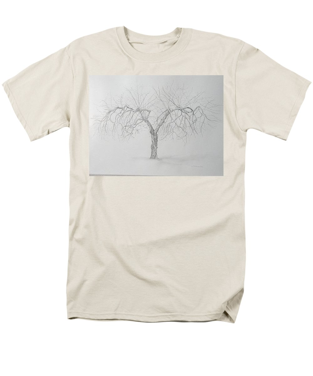 Cortland Apple Tree Men's T-Shirt (Regular Fit) featuring the drawing Cortland Apple by Leah Tomaino