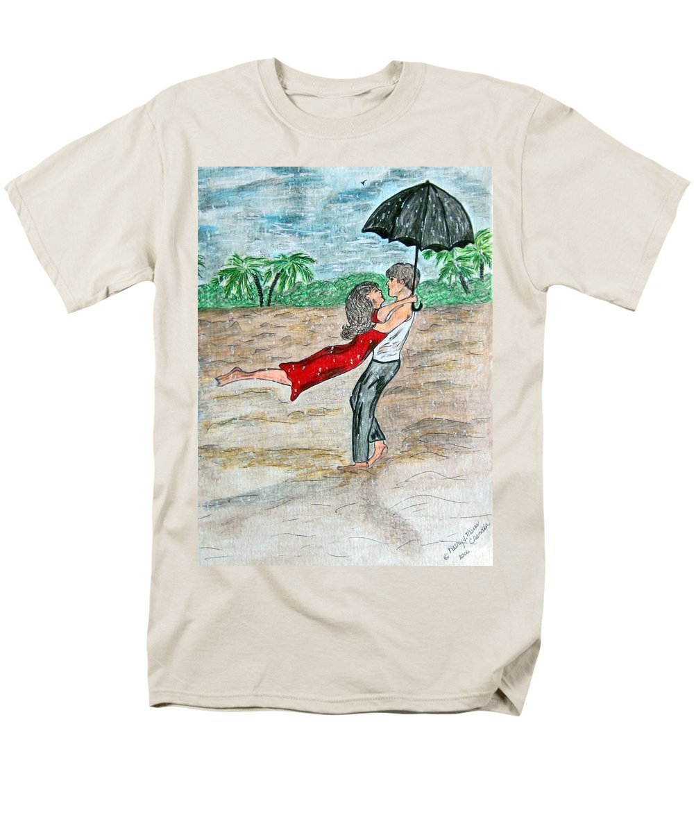 Dancing Men's T-Shirt (Regular Fit) featuring the painting Dancing in the Rain on the Beach by Kathy Marrs Chandler