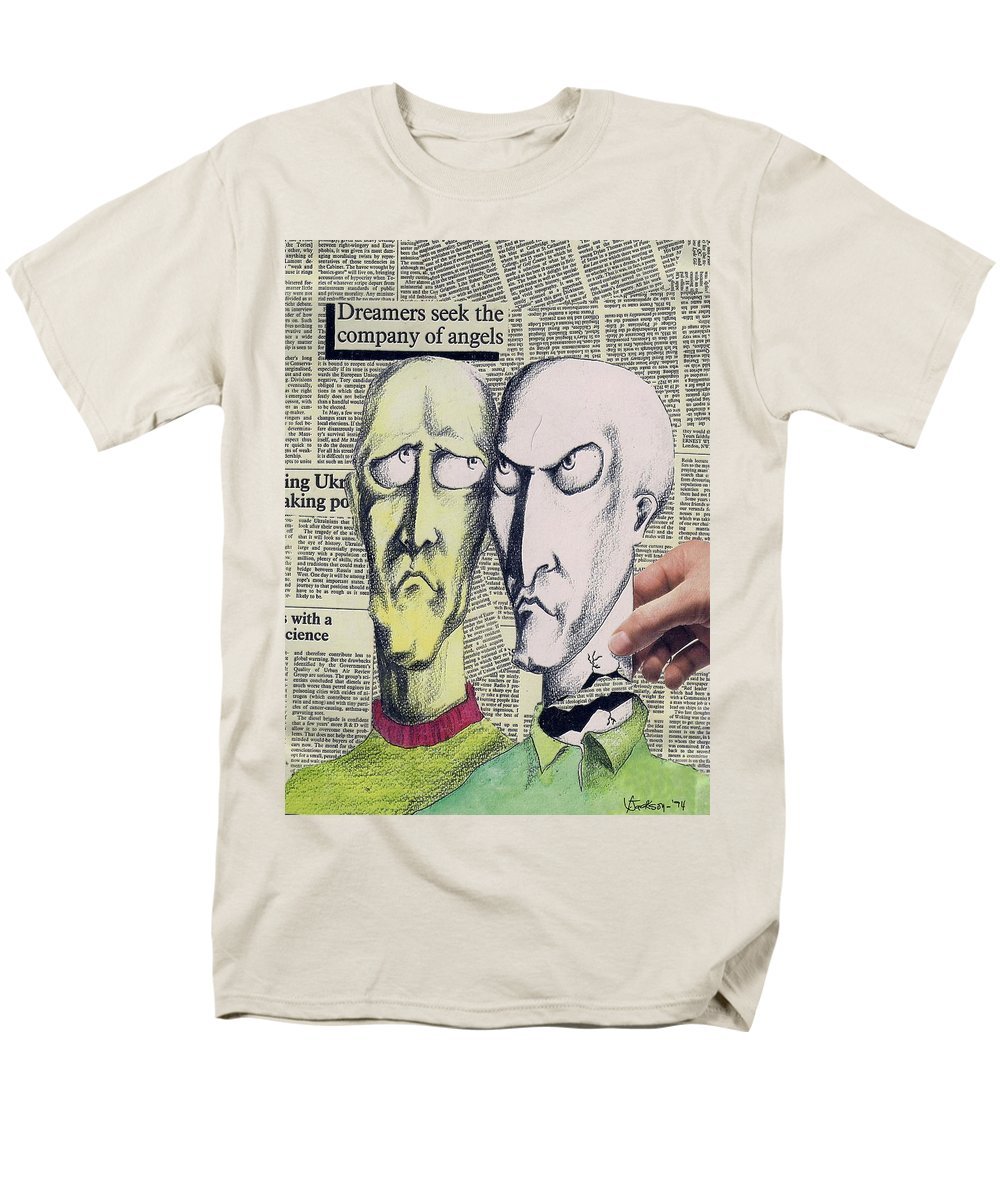 Dreamers Angels Faces Men's T-Shirt (Regular Fit) featuring the mixed media Dreamers by Veronica Jackson