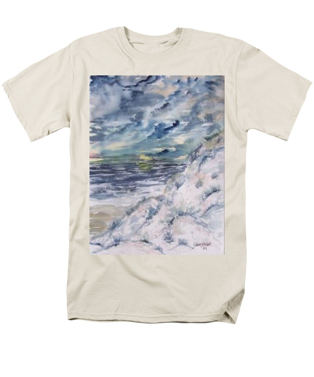 Seascape Men's T-Shirt (Regular Fit) featuring the painting Dunes 2 seascape painting poster print by Derek Mccrea