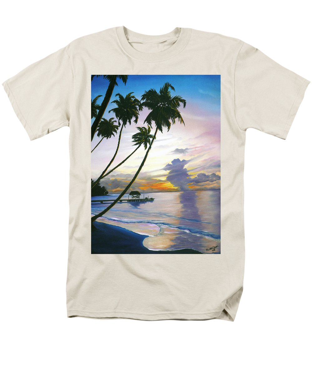 Ocean Painting Seascape Painting Beach Painting Sunset Painting Tropical Painting Tropical Painting Palm Tree Painting Tobago Painting Caribbean Painting Original Oil Of The Sun Setting Over Pigeon Point Tobago Men's T-Shirt (Regular Fit) featuring the painting Eventide Tobago by Karin Dawn Kelshall- Best