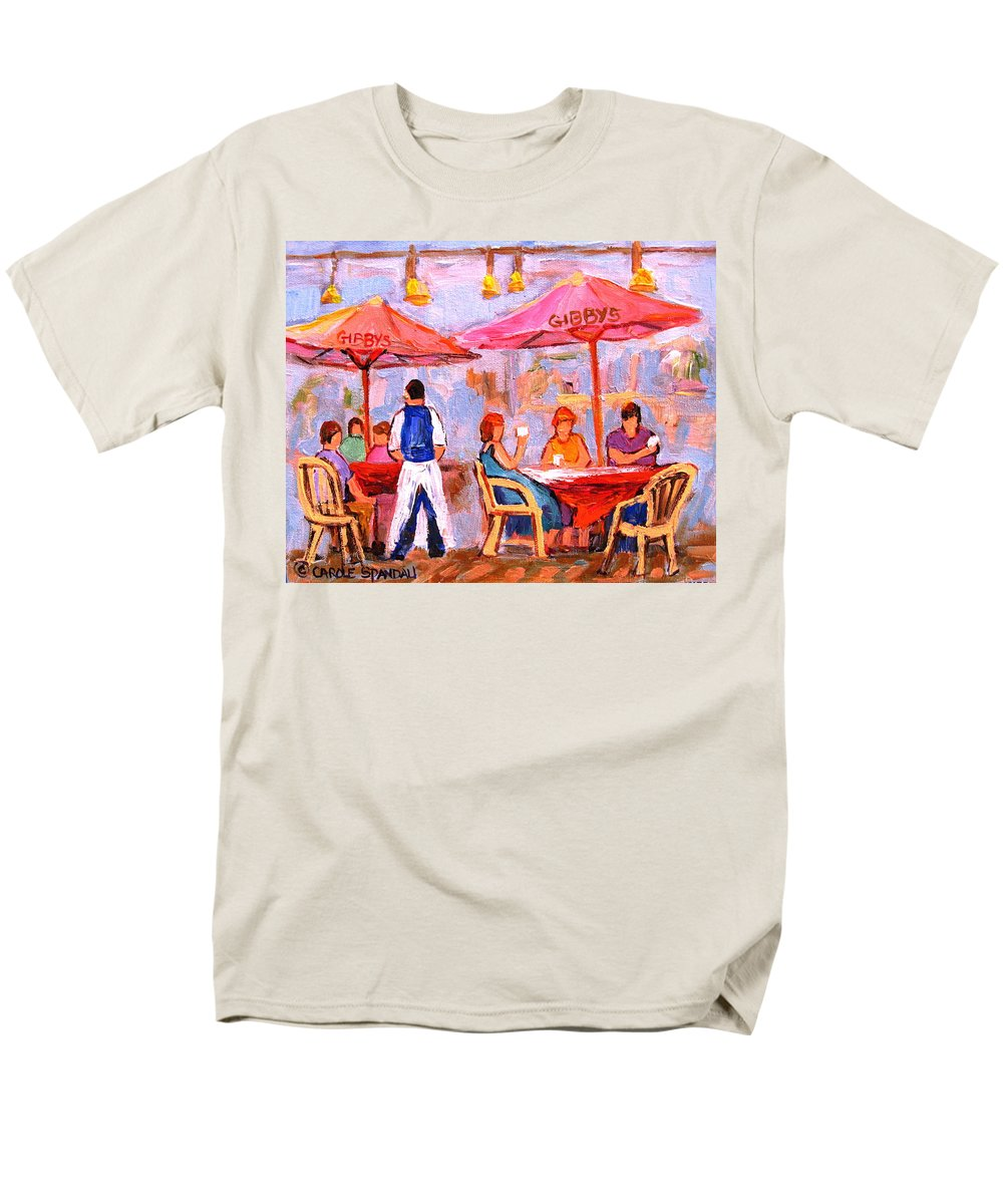 Gibbys Restaurant Montreal Street Scenes Men's T-Shirt (Regular Fit) featuring the painting Gibbys Cafe by Carole Spandau