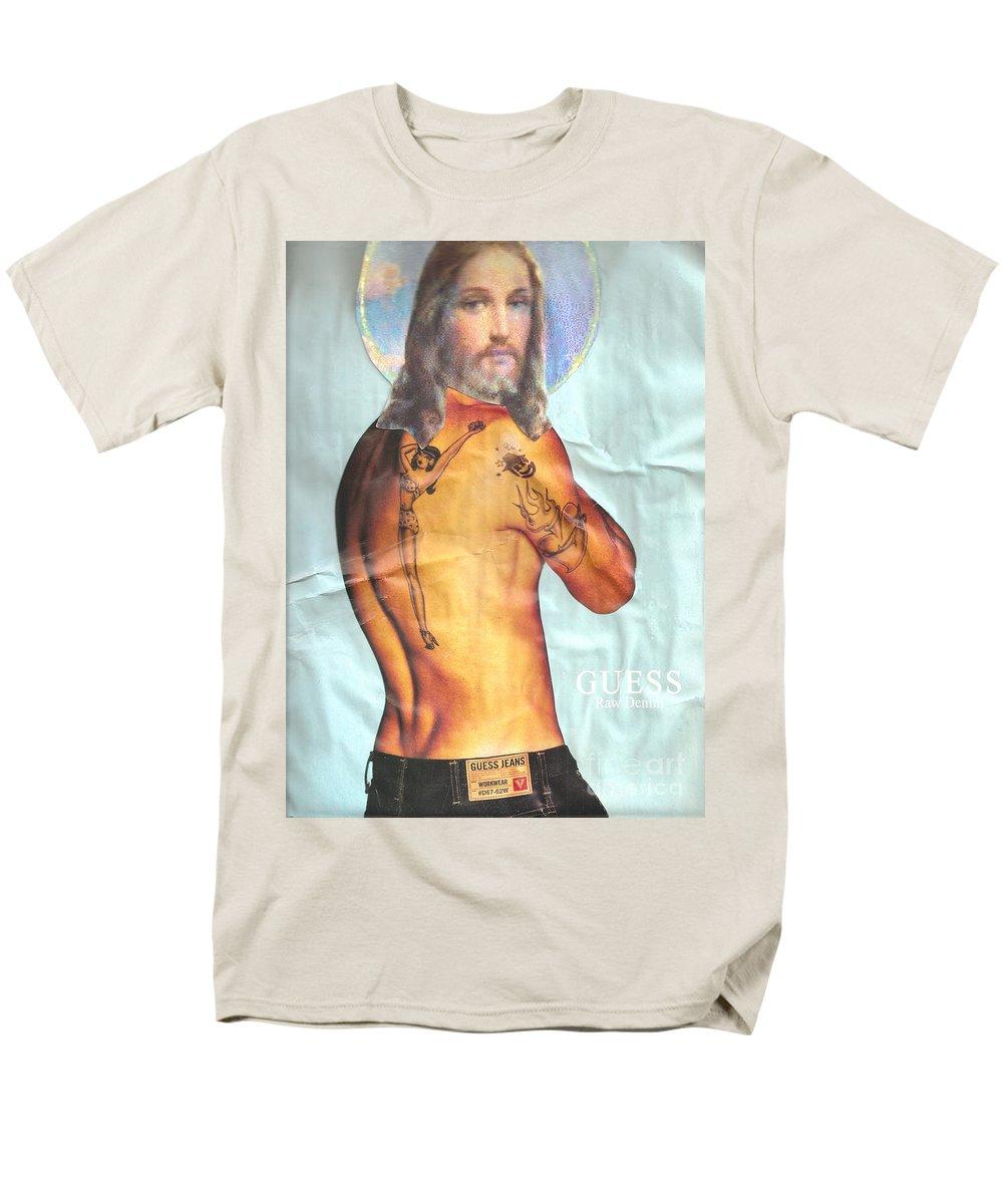 Jesus Men's T-Shirt (Regular Fit) featuring the mixed media Guess Jesus by Jaime Becker
