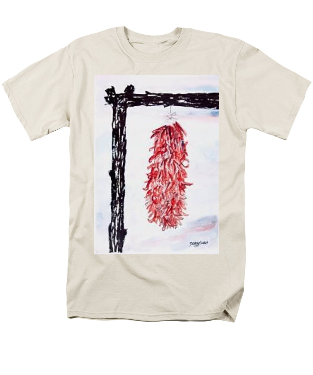 Watercolor Painting Men's T-Shirt (Regular Fit) featuring the painting Hatch Texas Chili Pepper painting by Derek Mccrea