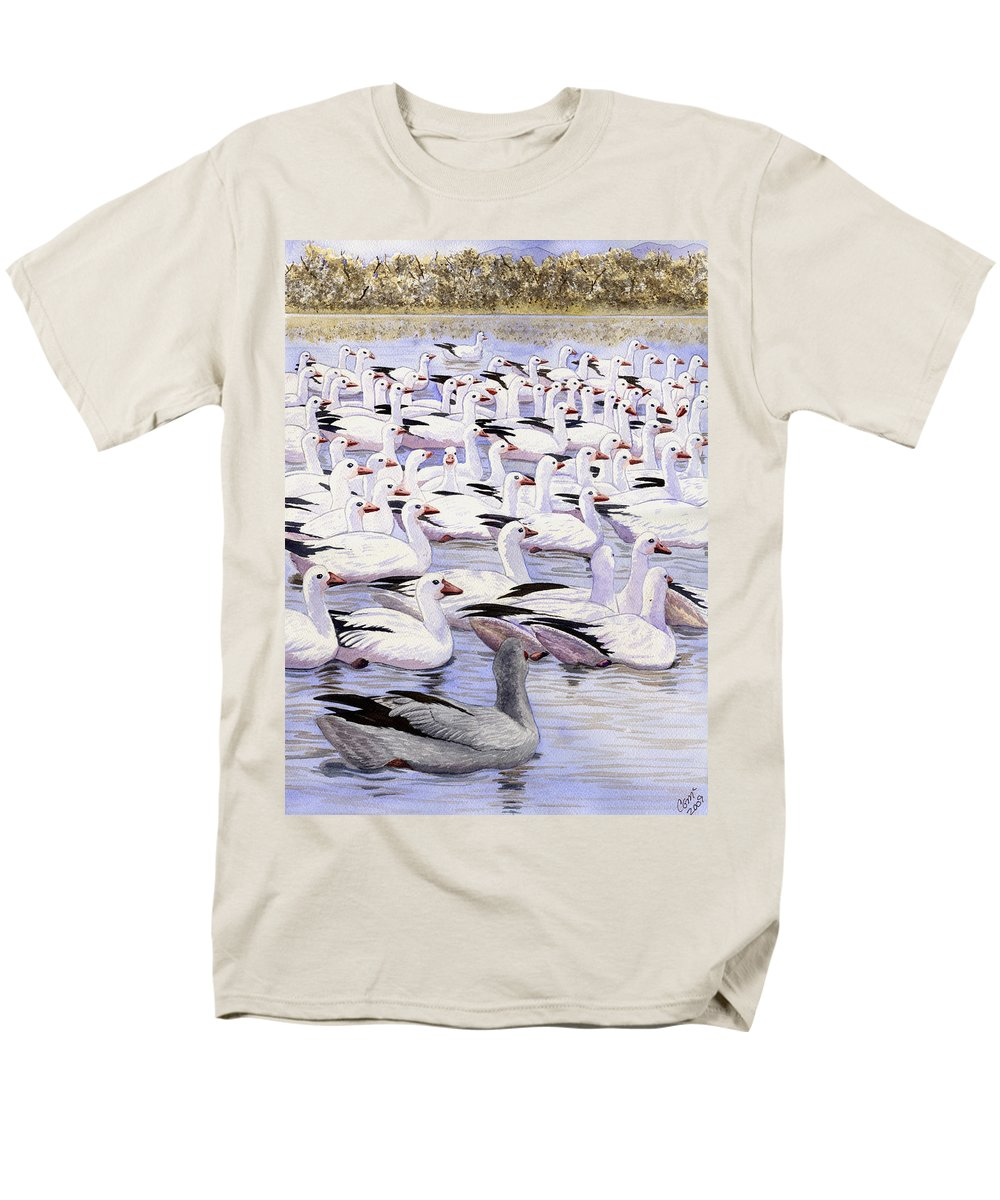 Geese Men's T-Shirt (Regular Fit) featuring the painting Heading North by Catherine G McElroy