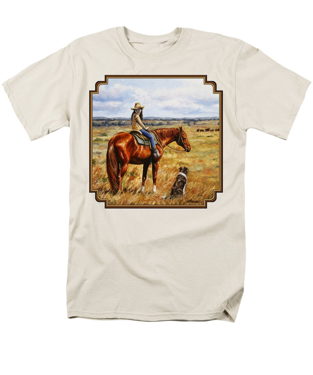 Western Men's T-Shirt (Regular Fit) featuring the painting Horse Painting - Waiting For Dad by Crista Forest