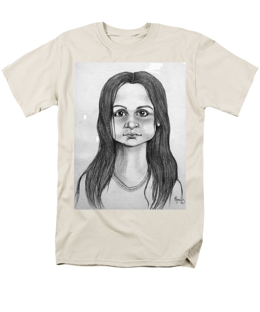 Portrait Men's T-Shirt (Regular Fit) featuring the drawing Immigrant Girl by Marco Morales