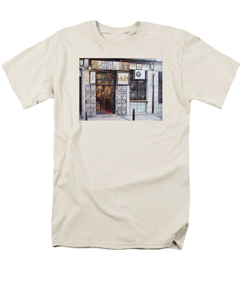 Bodega Men's T-Shirt (Regular Fit) featuring the painting La Cigalena Old Restaurant by Tomas Castano