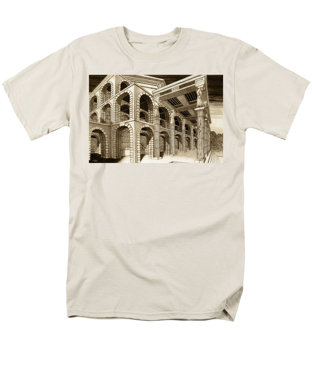 Mithlond Men's T-Shirt (Regular Fit) featuring the drawing Mithlond Gray Havens by Curtiss Shaffer