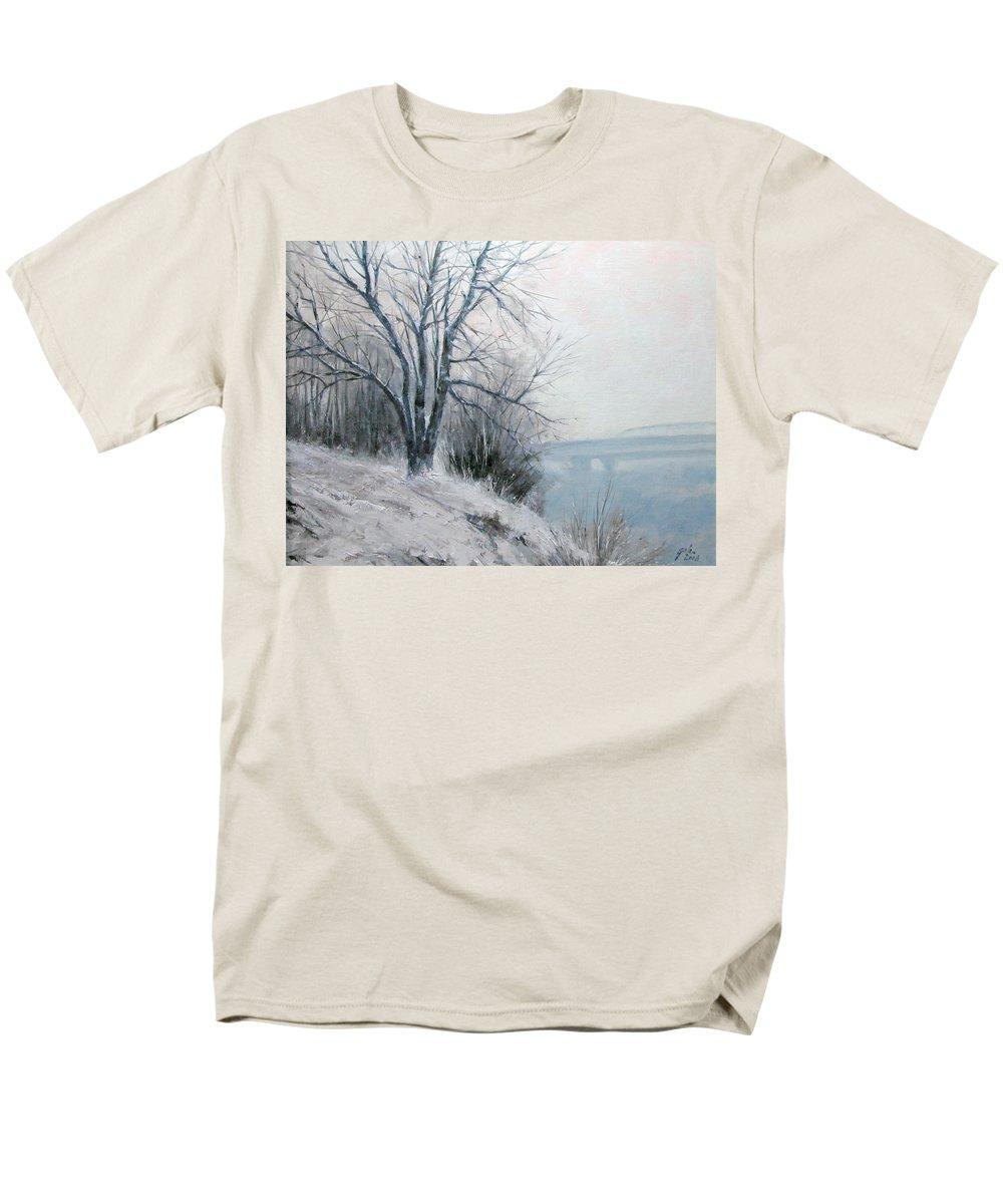 Art Men's T-Shirt (Regular Fit) featuring the painting Paradise Point Bridge Winter by Jim Gola