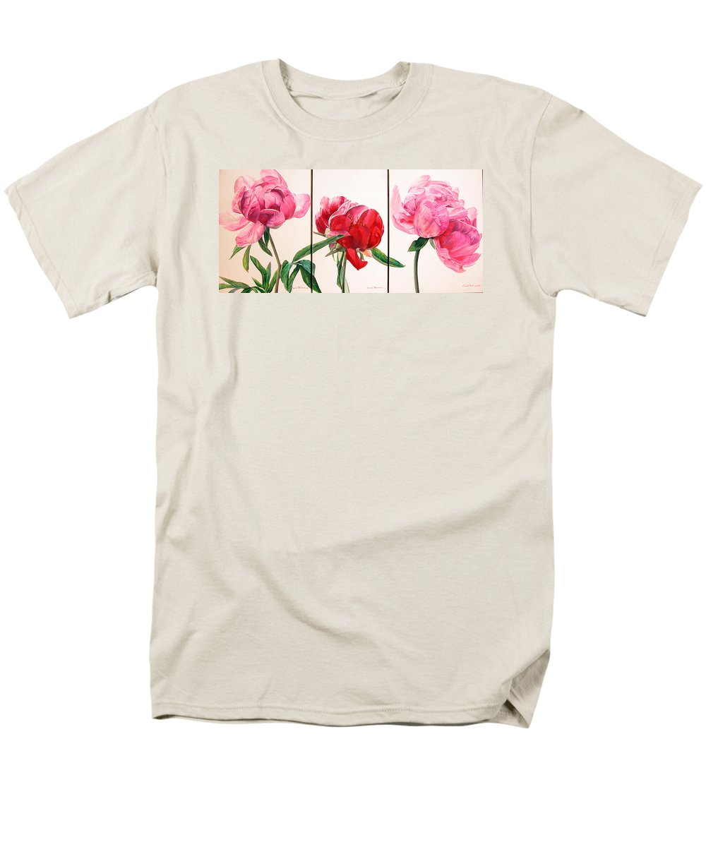 Floral Painting Men's T-Shirt (Regular Fit) featuring the painting Pivoines by Muriel Dolemieux