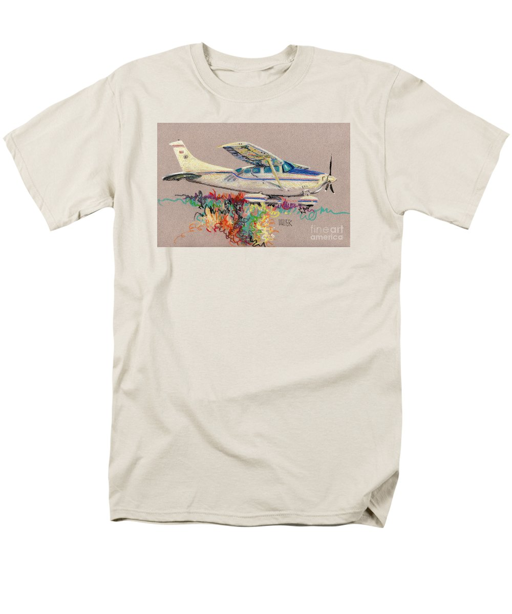 Small Plane Men's T-Shirt (Regular Fit) featuring the drawing Private Plane by Donald Maier