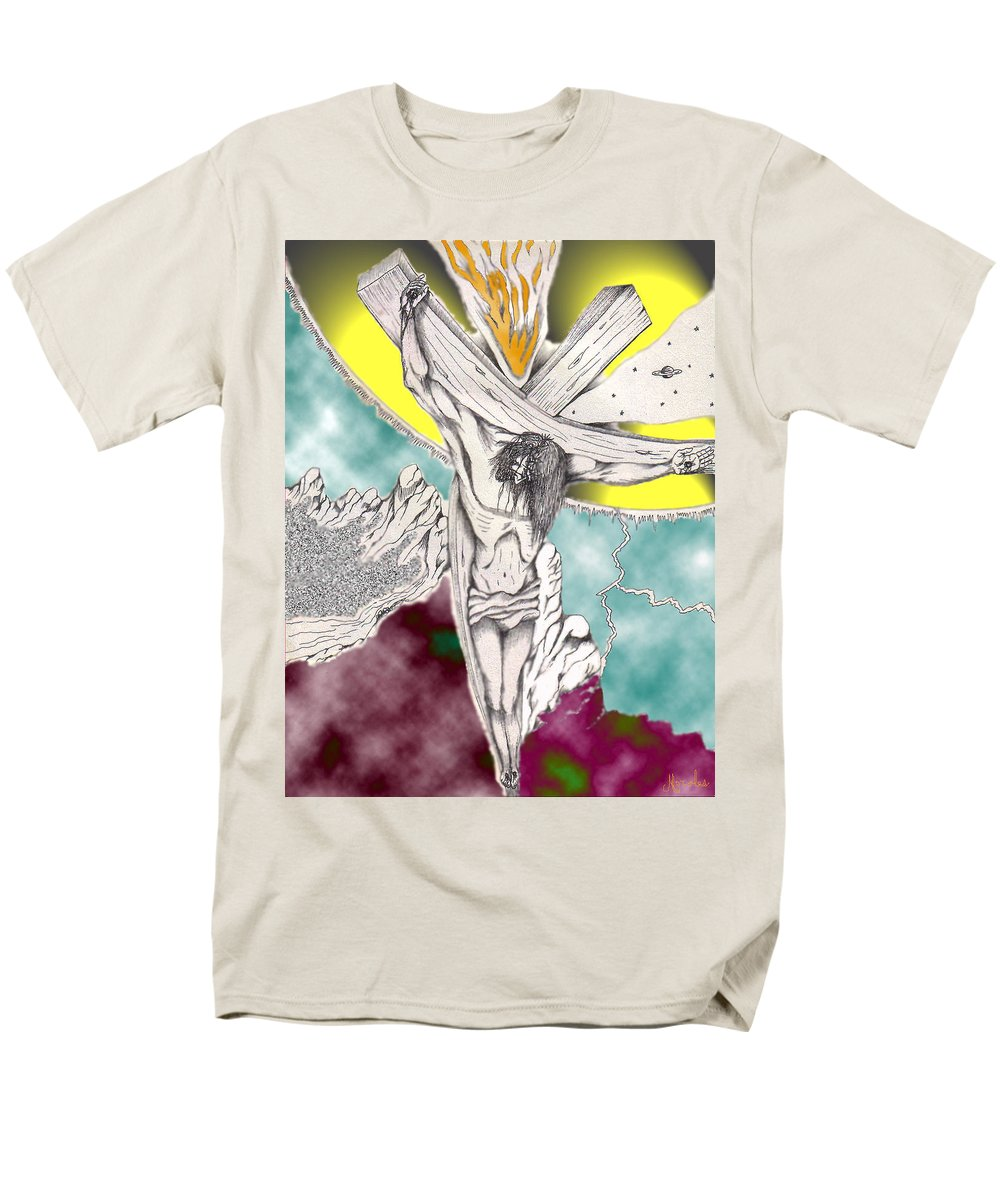 Spiritual Men's T-Shirt (Regular Fit) featuring the digital art Psalm 22 Ch 13-15... by Marco Morales