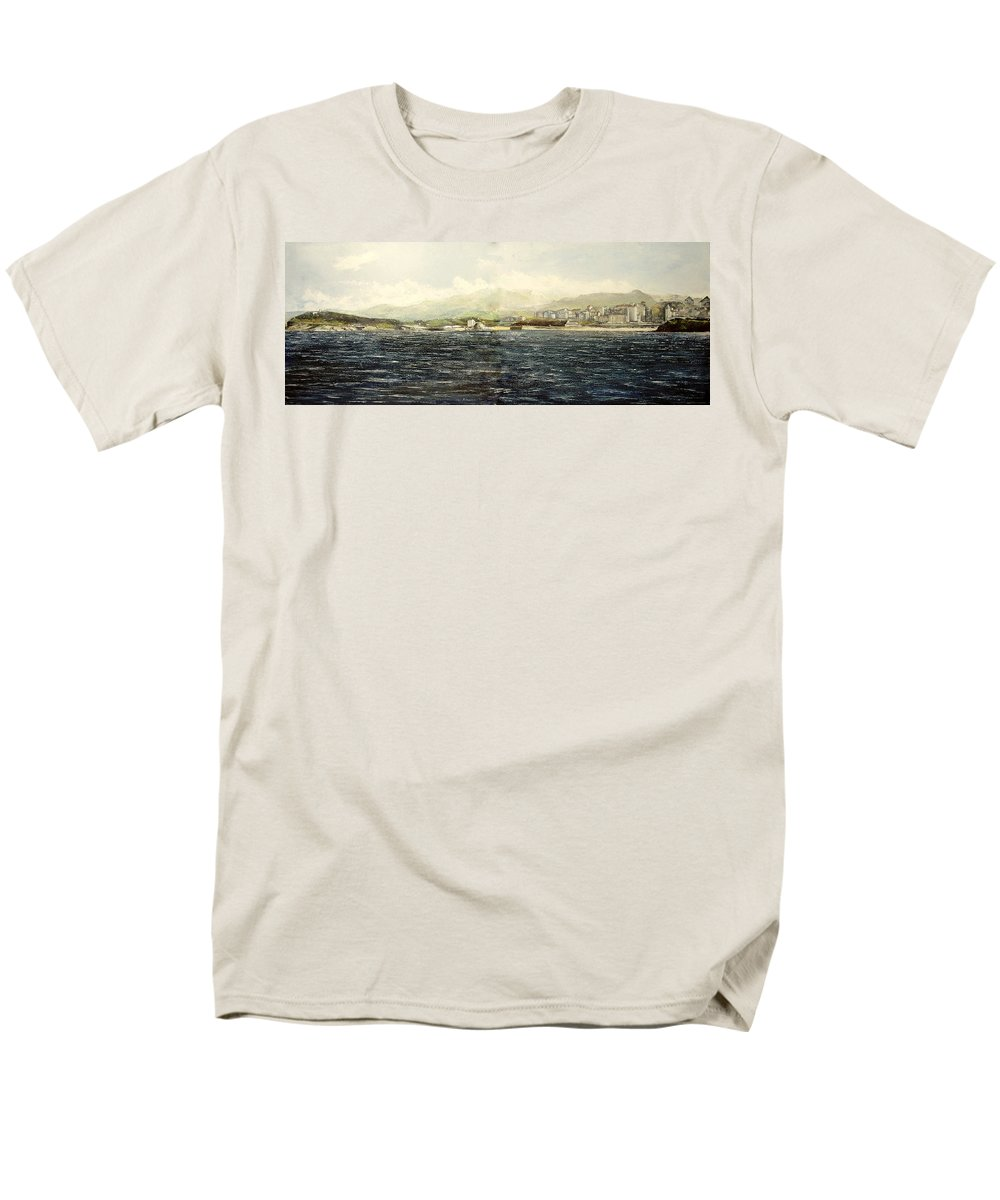 Sardinero Men's T-Shirt (Regular Fit) featuring the painting Sardinero y Magdalena by Tomas Castano
