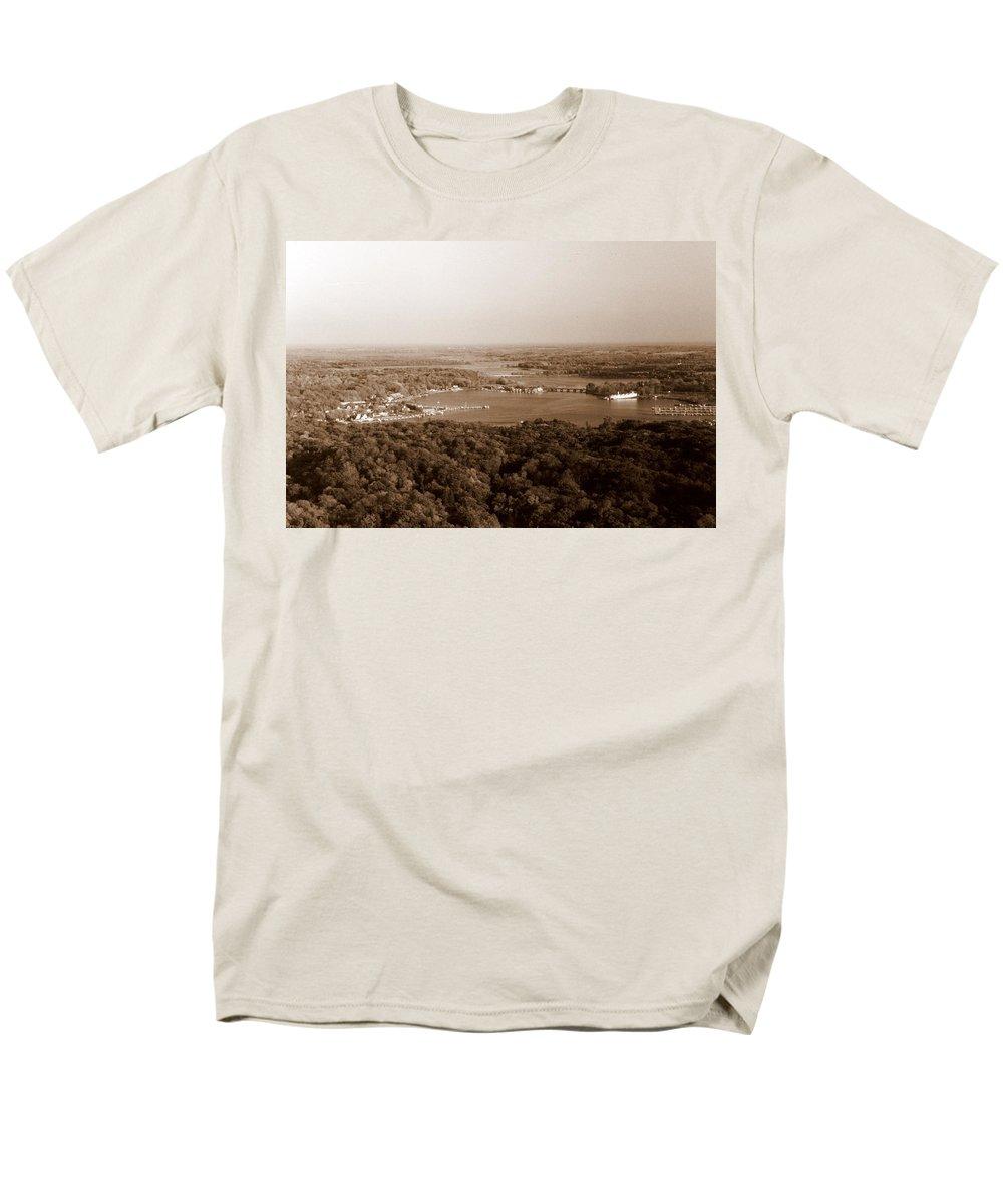 Saugatuck Men's T-Shirt (Regular Fit) featuring the photograph Saugatuck Michigan Harbor Aerial Photograph by Michelle Calkins