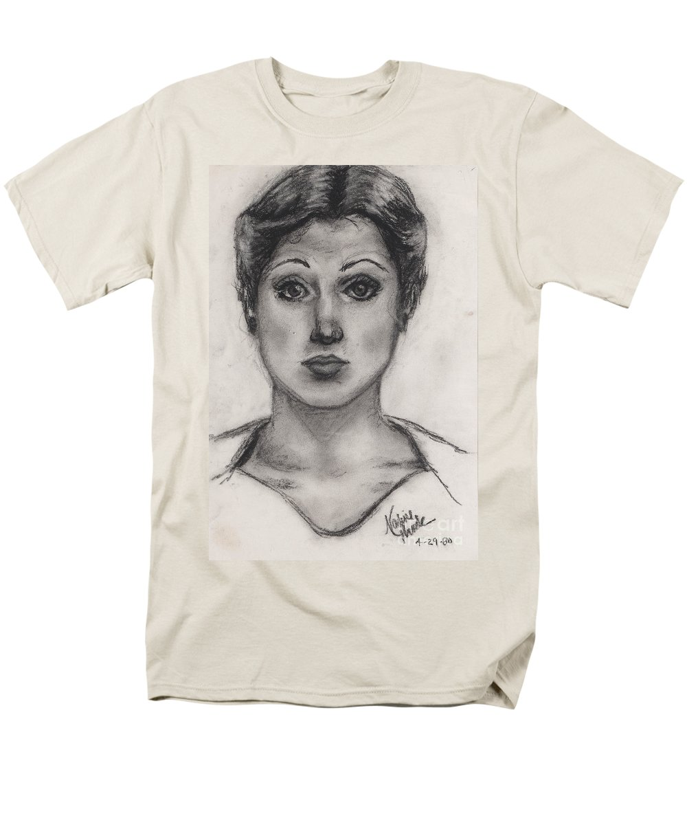 Nadine Men's T-Shirt (Regular Fit) featuring the drawing Self Portrait at Age 18 by Nadine Rippelmeyer