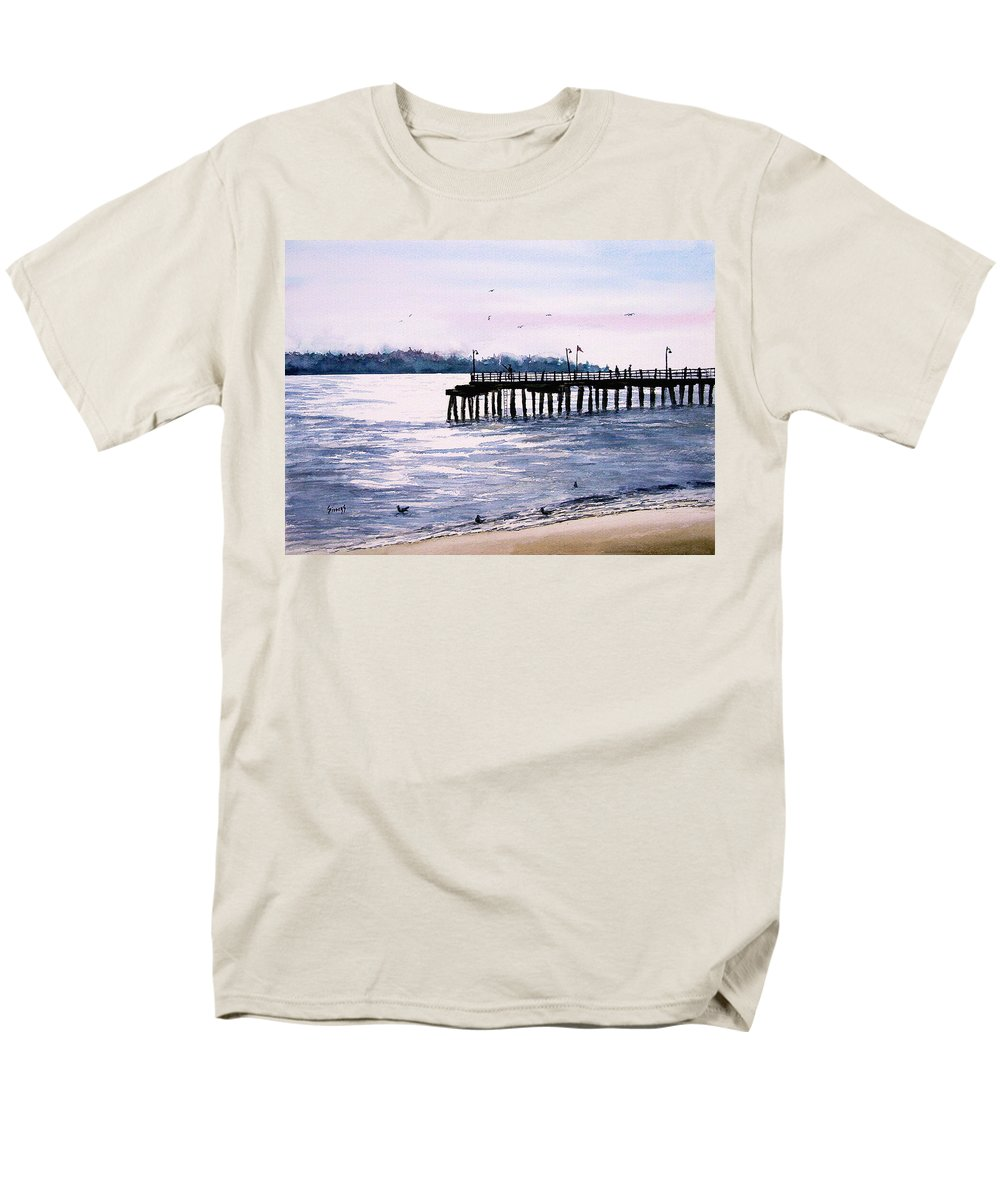 Fishing Men's T-Shirt (Regular Fit) featuring the painting St. Simons Island Fishing Pier by Sam Sidders