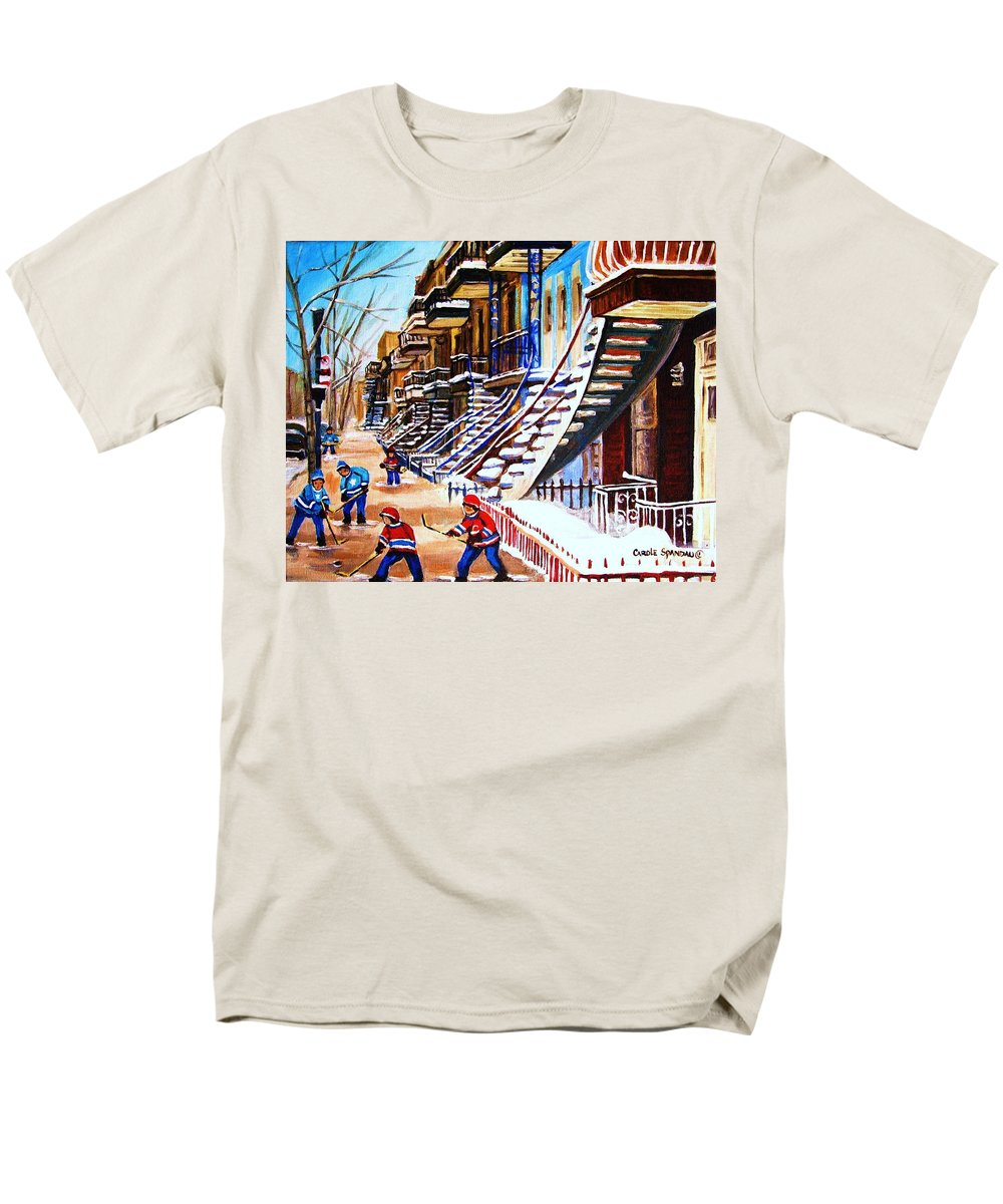 Hockey Men's T-Shirt (Regular Fit) featuring the painting The Gray Staircase by Carole Spandau