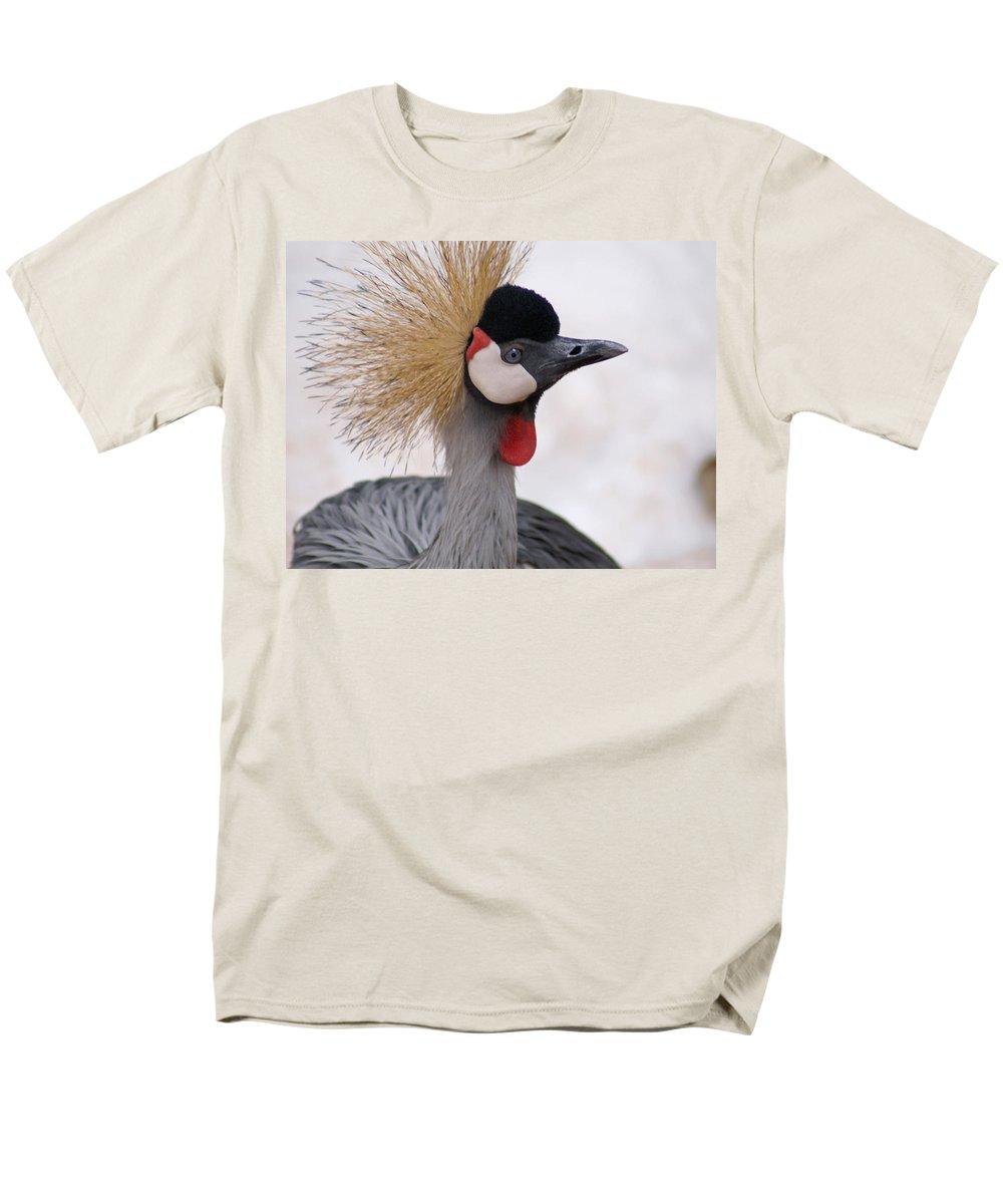 Crane Men's T-Shirt (Regular Fit) featuring the photograph The Headress Crowned Crane by Heather Coen