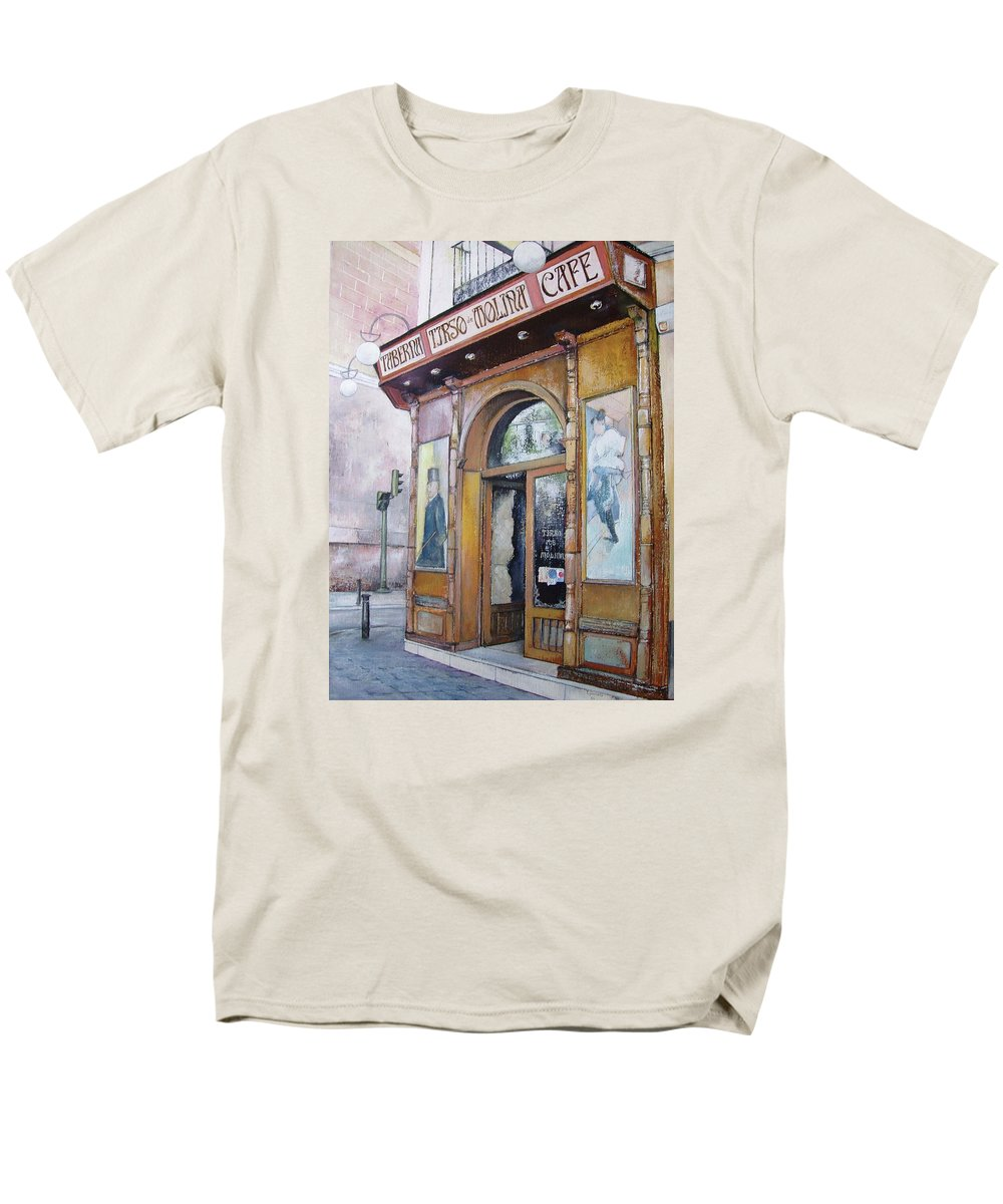 Tirso Men's T-Shirt (Regular Fit) featuring the painting Tirso De Molina Old Tavern by Tomas Castano