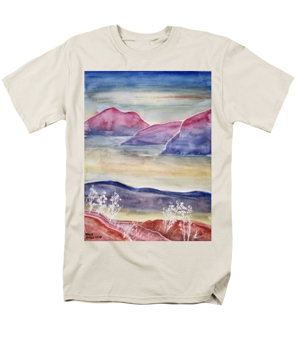 Watercolor Men's T-Shirt (Regular Fit) featuring the painting TRANQUILITY 2 mountain modern surreal painting print by Derek Mccrea