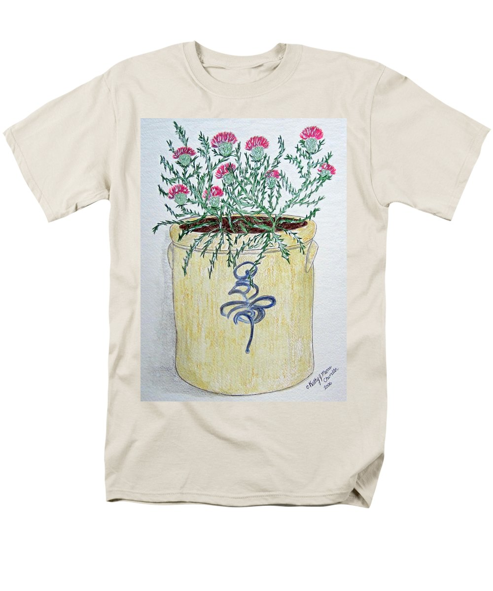 Vintage Men's T-Shirt (Regular Fit) featuring the painting Vintage Bee Sting Crock and Thistles by Kathy Marrs Chandler