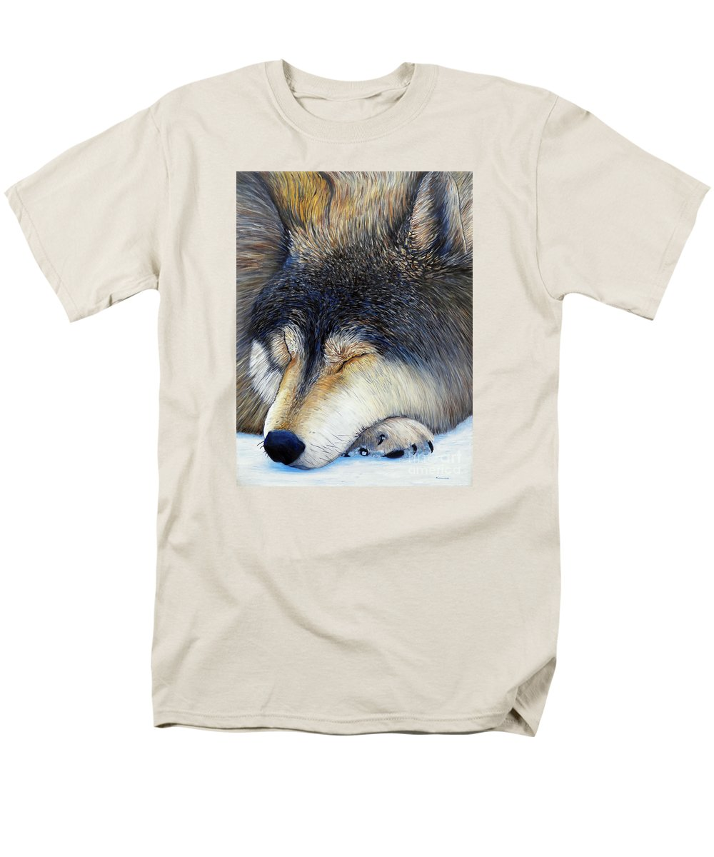 Wolf Men's T-Shirt (Regular Fit) featuring the painting Wolf Dreams by Brian Commerford