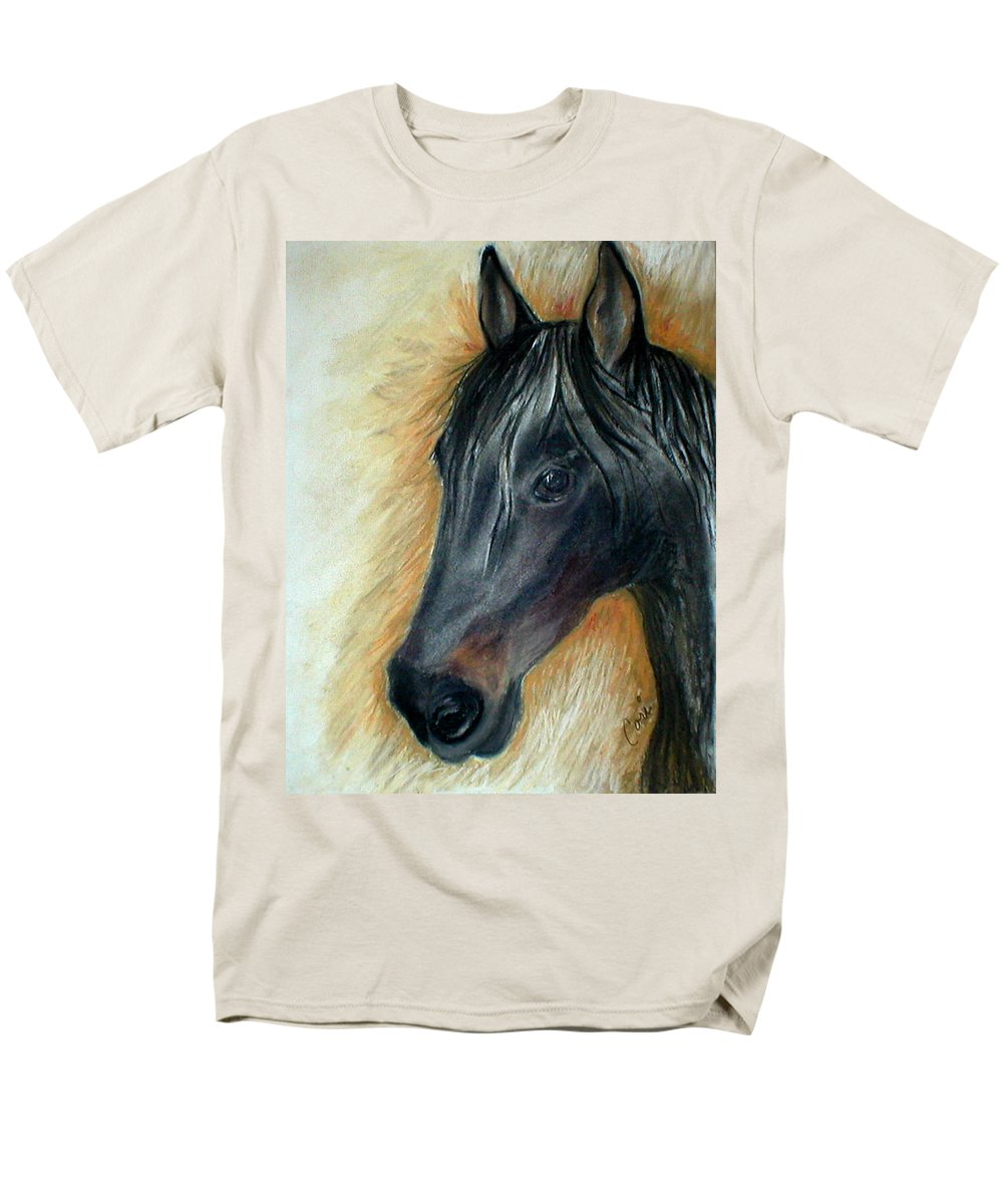 Horse Men's T-Shirt (Regular Fit) featuring the drawing A Stable Friend by Cori Solomon