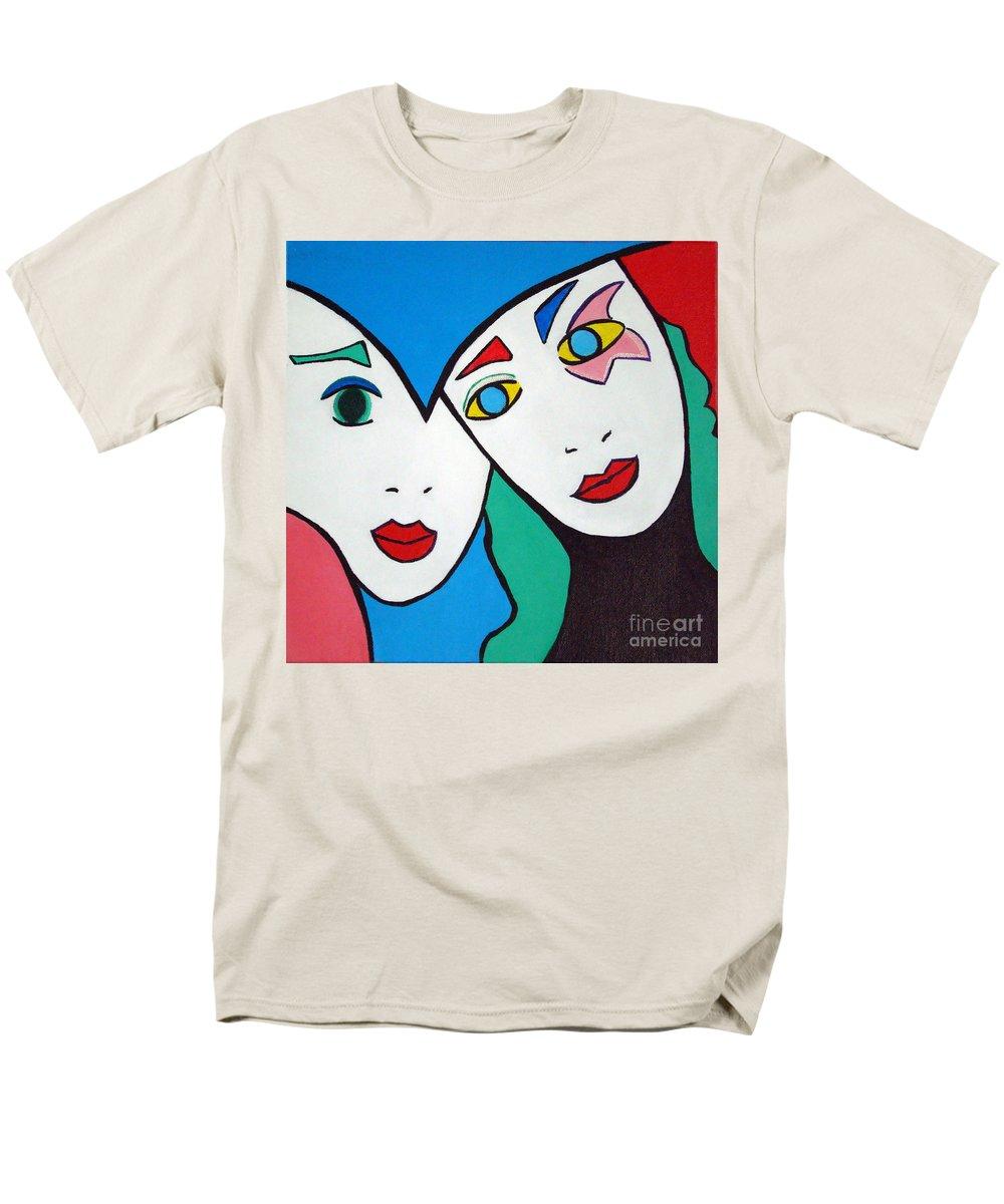 Pop-art Men's T-Shirt (Regular Fit) featuring the painting Best Friends by Silvana Abel