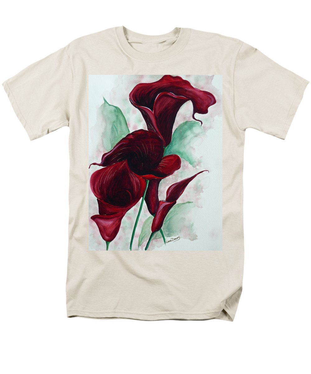 Flower Painting Floral Painting Botanical Painting Tropical Painting Caribbean Painting Calla Painting Red Lily Painting Deep Red Calla Lilies Original Watercolor Painting Men's T-Shirt (Regular Fit) featuring the painting Black Callas by Karin Dawn Kelshall- Best