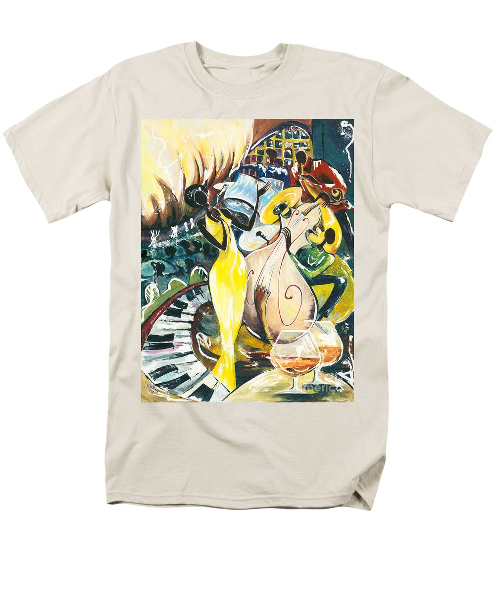 Acrylic Men's T-Shirt (Regular Fit) featuring the painting Jazz No.2 by Elisabeta Hermann