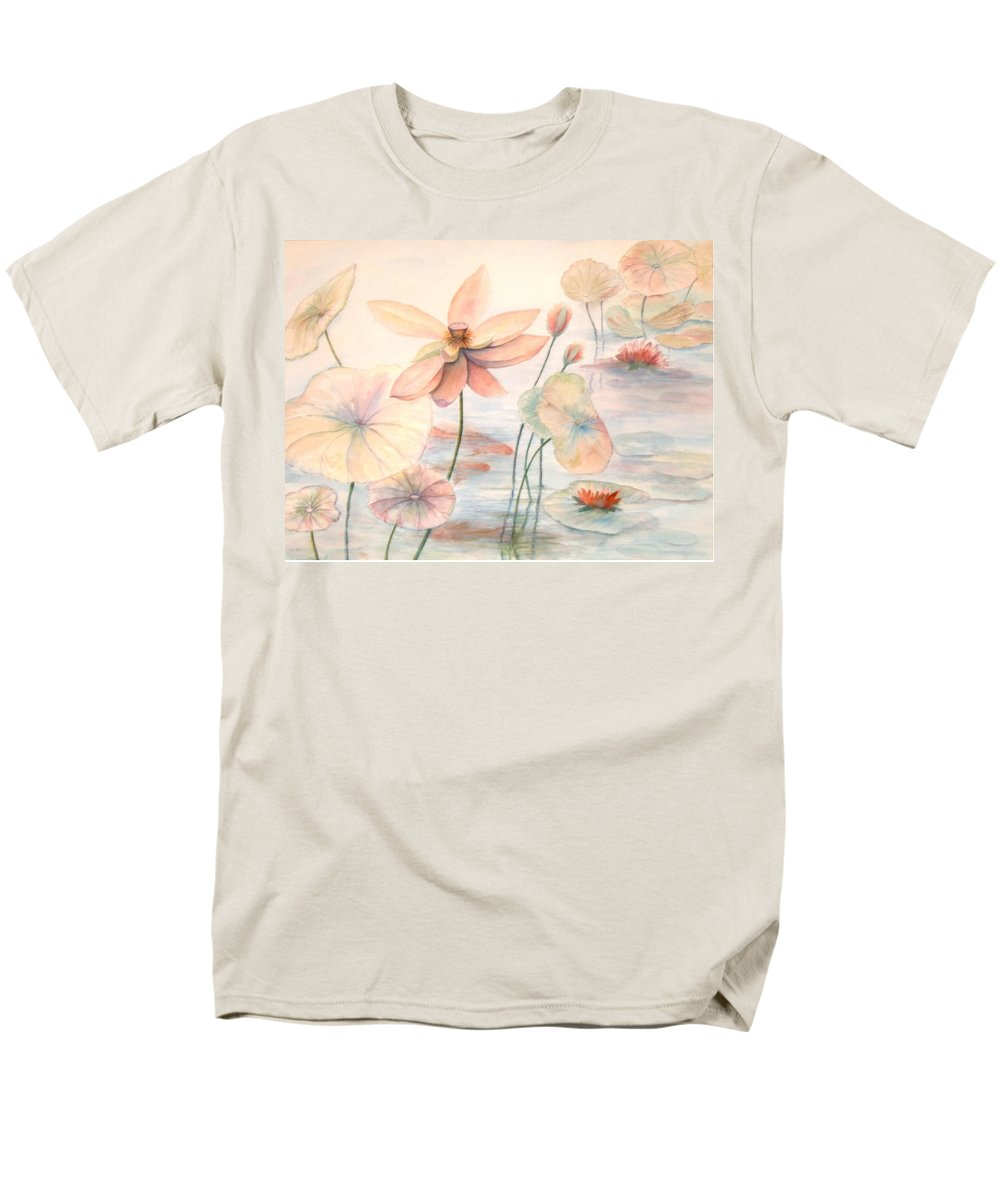Lily Pads And Lotus Blossoms Men's T-Shirt (Regular Fit) featuring the painting Lily Pads by Ben Kiger