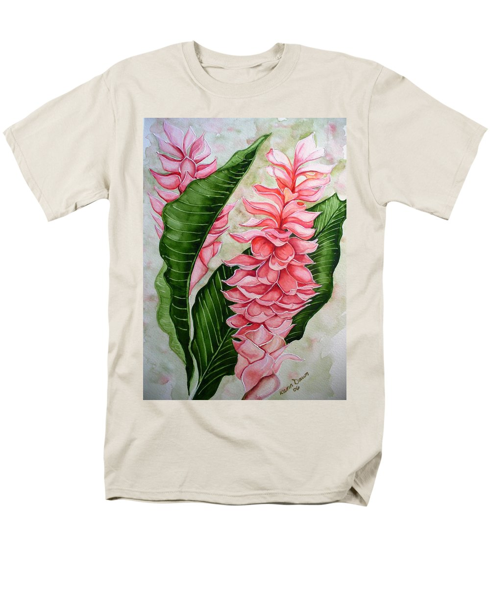 Flower Painting Floral Painting Botanical Painting Ginger Lily Painting Original Watercolor Painting Caribbean Painting Tropical Painting Men's T-Shirt (Regular Fit) featuring the painting Pink Ginger Lilies by Karin Dawn Kelshall- Best