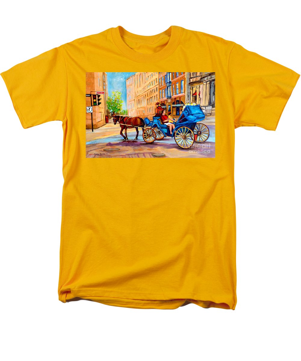 Rue Notre Dame Men's T-Shirt (Regular Fit) featuring the painting Rue Notre Dame Caleche Ride by Carole Spandau