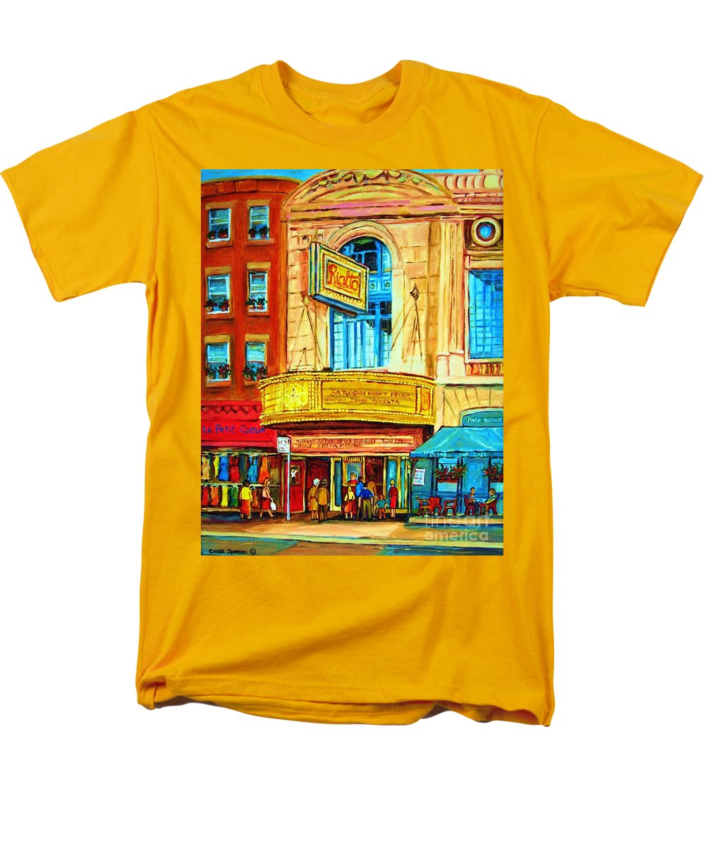 Street Scene Men's T-Shirt (Regular Fit) featuring the painting The Rialto Theatre by Carole Spandau