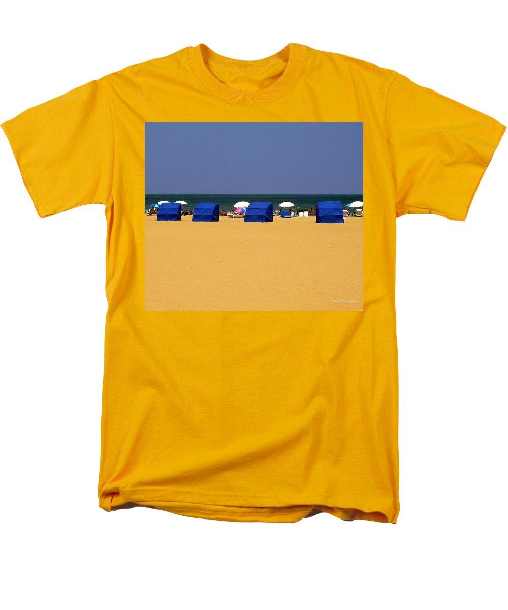 Beach Men's T-Shirt (Regular Fit) featuring the photograph Beach Tents by Deborah Crew-Johnson