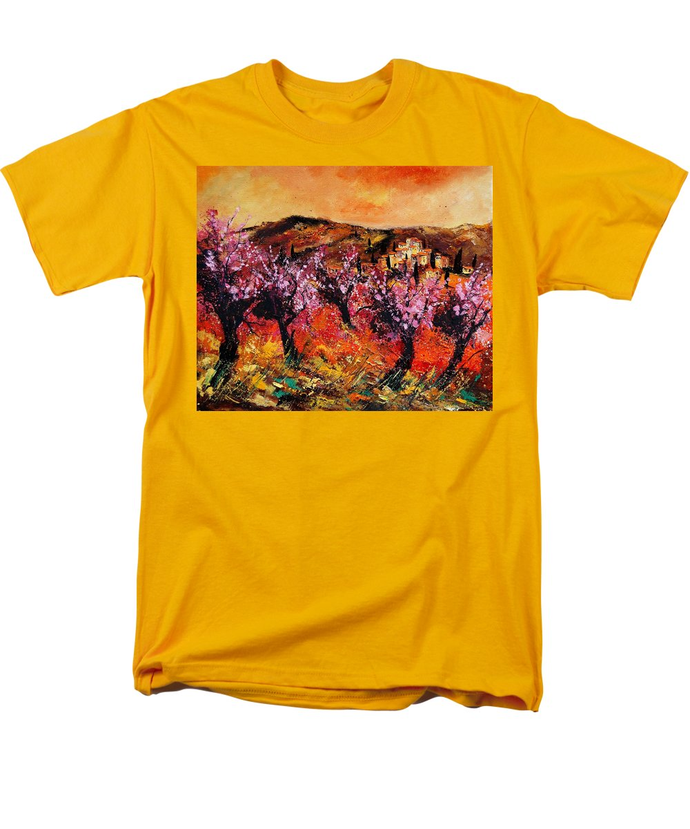 Provence Cherrytree Summer Spring Men's T-Shirt (Regular Fit) featuring the painting Blooming Cherry Trees by Pol Ledent