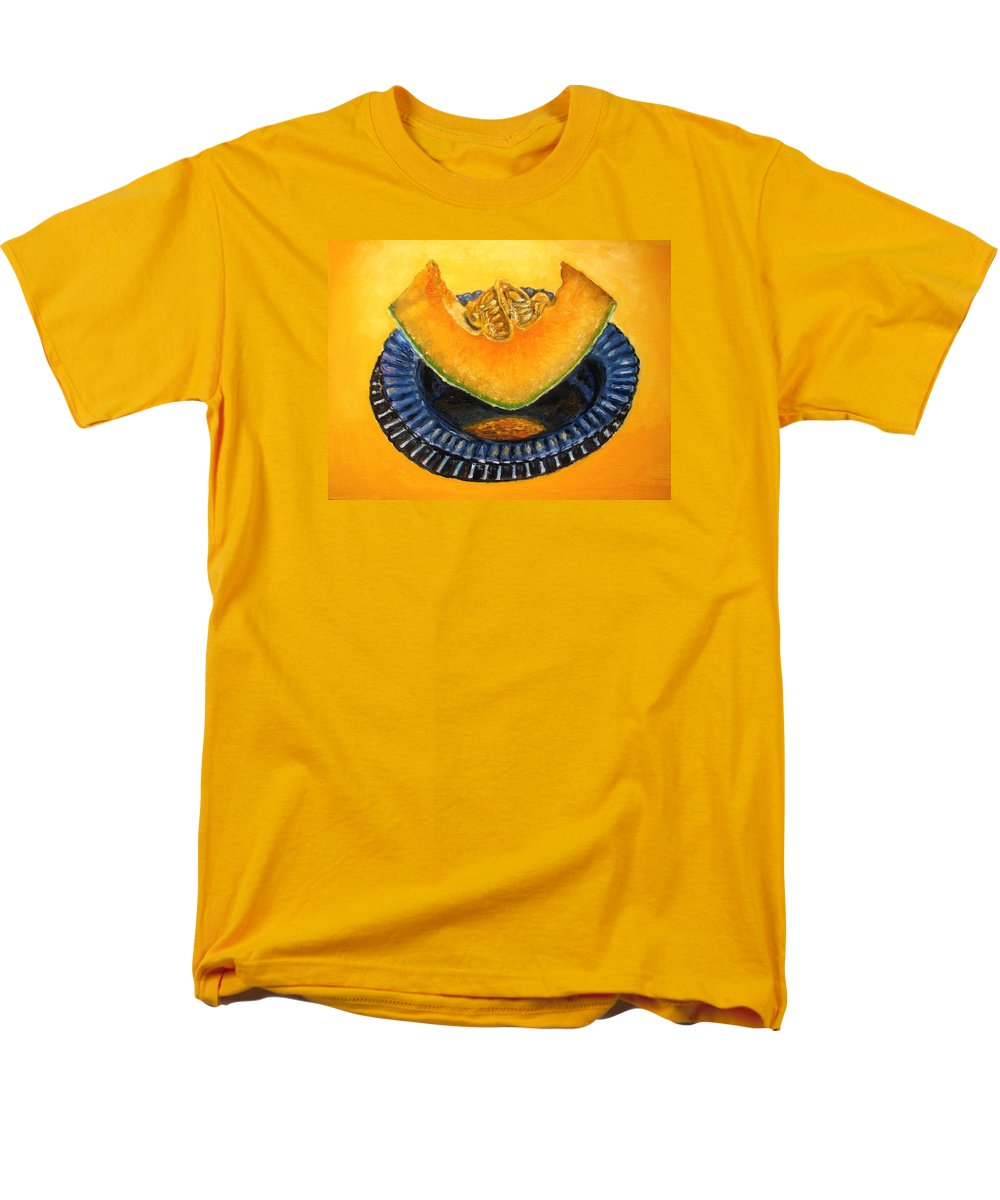 Cantaloupe Men's T-Shirt (Regular Fit) featuring the painting Cantaloupe Oil Painting by Natalja Picugina