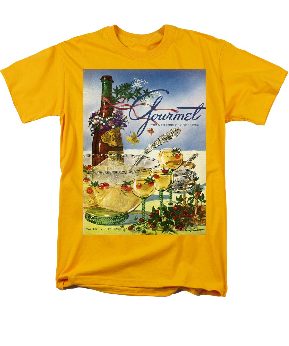Illustration Men's T-Shirt (Regular Fit) featuring the photograph Gourmet Cover Featuring A Bowl And Glasses by Henry Stahlhut