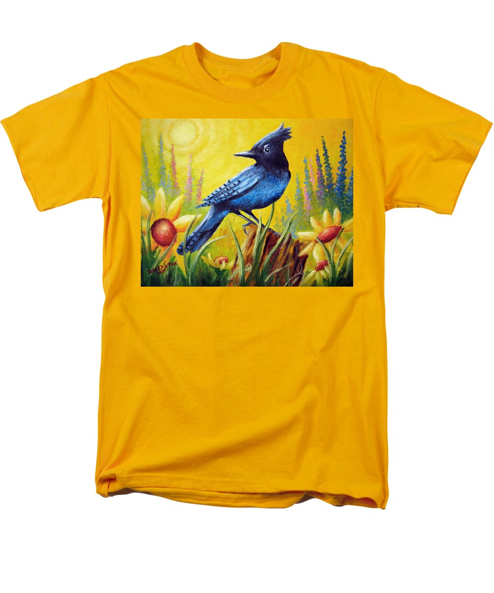 Bird Men's T-Shirt (Regular Fit) featuring the painting Greeting The Day by David G Paul