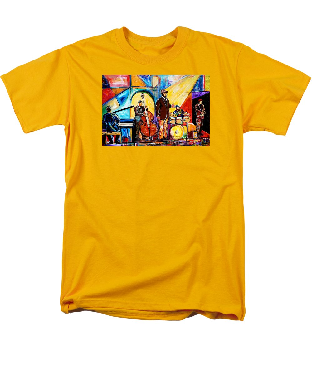 Birmingham Men's T-Shirt (Regular Fit) featuring the painting The Gregory Porter Band by Everett Spruill