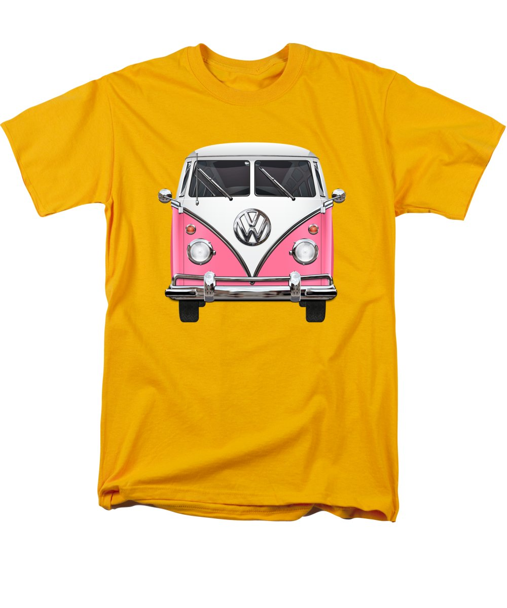 'volkswagen Type 2' Collection By Serge Averbukh Men's T-Shirt (Regular Fit) featuring the photograph Pink And White Volkswagen T 1 Samba Bus On Yellow by Serge Averbukh