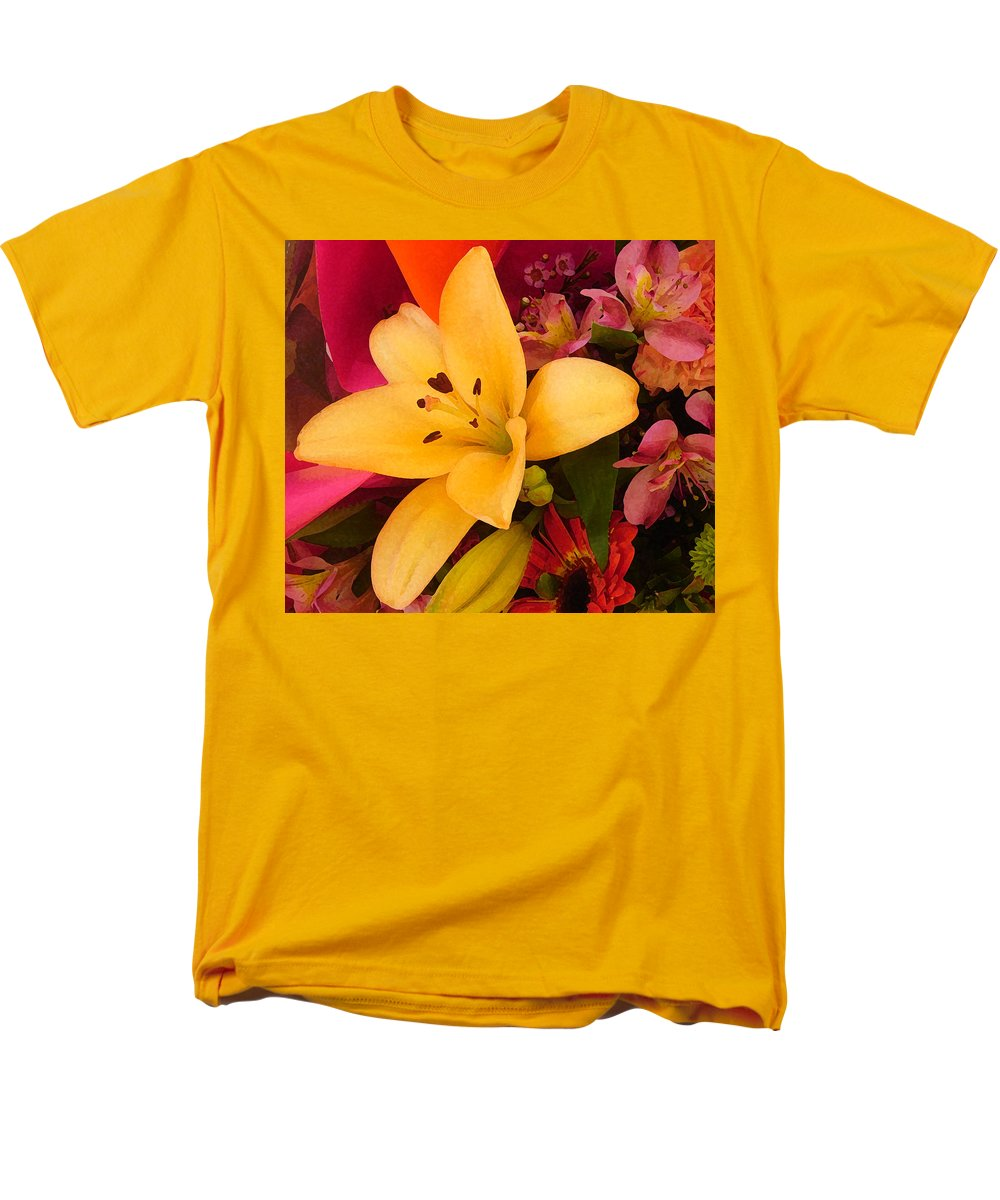 Lily Men's T-Shirt (Regular Fit) featuring the painting Spring Lily Bouquet by Amy Vangsgard