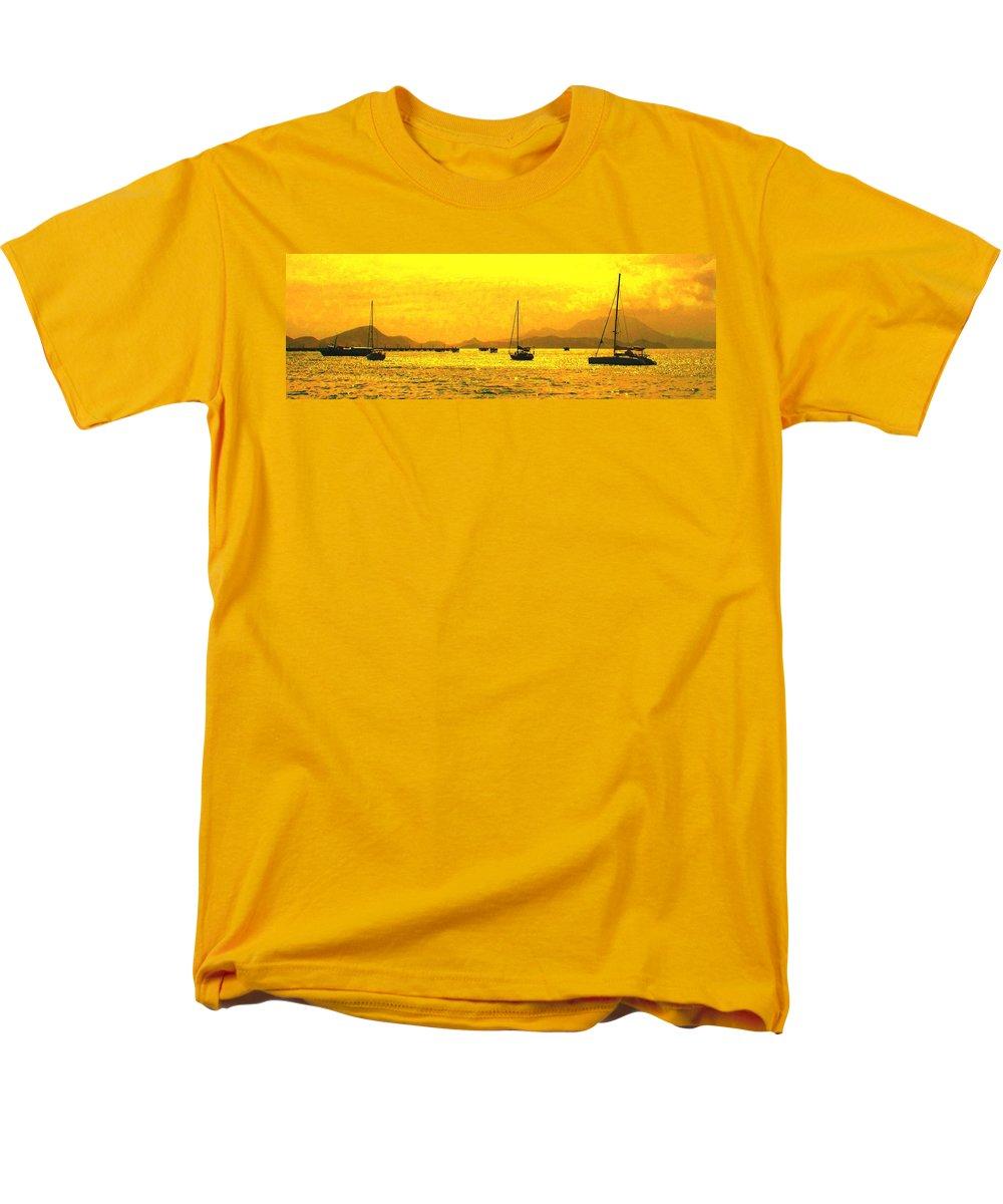 Basseterre Men's T-Shirt (Regular Fit) featuring the photograph Towards Nevis by Ian MacDonald