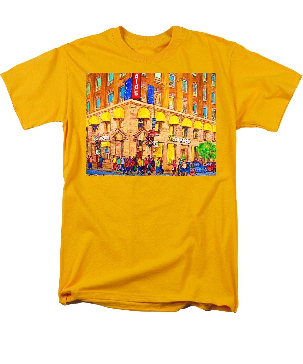 Mcdonald Restaurant Montreal Men's T-Shirt (Regular Fit) featuring the painting Mcdonald's Restaurant Montreal by Carole Spandau