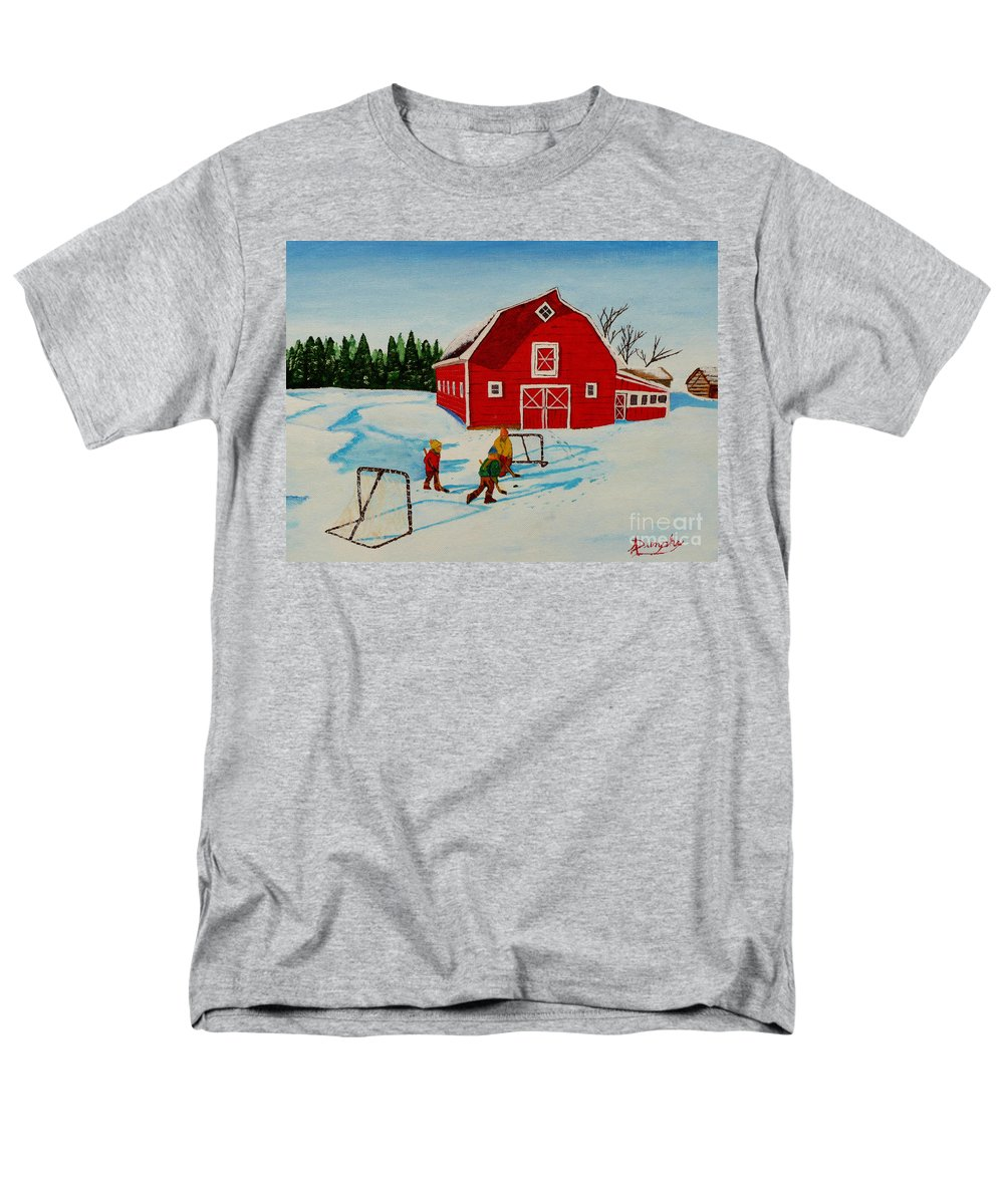Hockey Men's T-Shirt (Regular Fit) featuring the painting Barn Yard Hockey by Anthony Dunphy